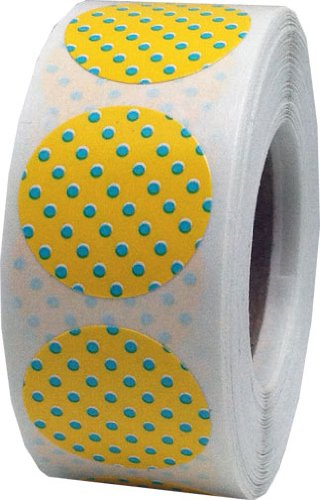 Yellow with Teal Polka Dot Color Coding Labels for Organizing Inventory 0.75 Inch Round Circle Dots 500 Total Adhesive Stickers On A Roll