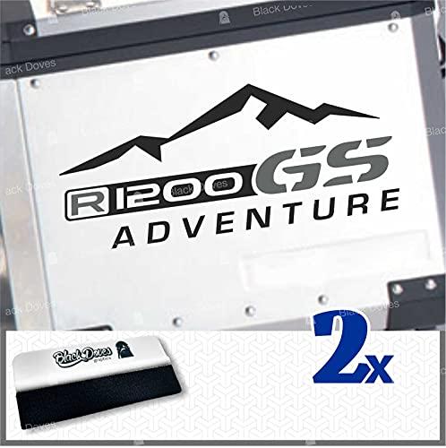2 adhesivos R1200GS para Motorrad R1200 Adventure R 1200 GS para Touratech Givi Trekker Outback Panniers (negro-gris)