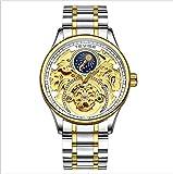 Tevise T820A Herren-Armbanduhr mit automatischem Zifferblatt, mechanisch, Tourbillon, wasserdicht, Skelett-Zifferblatt, Edelstahl-Armband, goldandsilverandblue