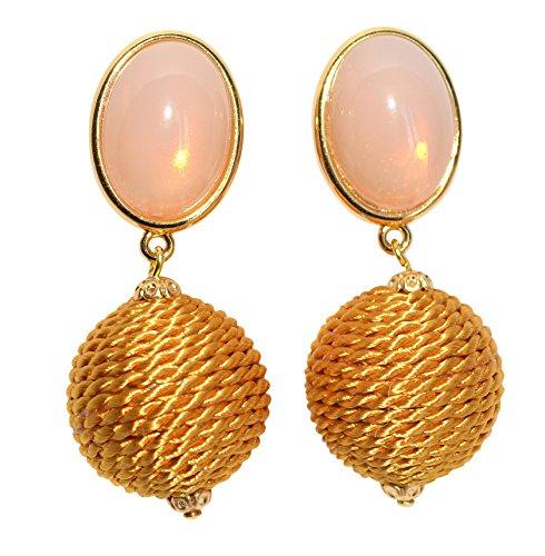 Sehr große leichte Ohr-Clips vergoldet Stein rosa Anhänger safran-gelb umkordelt Mode elegant Geschenk Geburtstag Dirndl Tracht Party Fest Designer JUSTWIN
