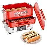 HOT DOG WORLD - Großer Hot Dog Maker mit Brötchenwärmefach - Hot Dog Party Steamer