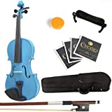 Mendini Solid Wood Violin with Hard Case, Bow, Rosin and Extra Strings (1/4, Blue)