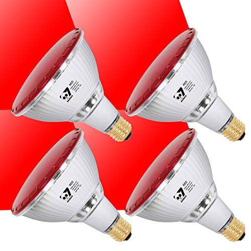 7Pandas PAR38 LED Flood Light Bulb, 90W Equivalent Halogen Bulb, ETL Listed, Full Glass Body, 14W 1200 LM, Outdoor and Indoor Use, Pack of 4, Red