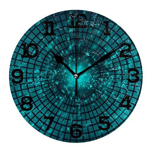 AMONKA - Orologio da parete rotondo in acrilico con sfondo astratto fantascientifico, senza ticchettio, per decorazione della casa, soggiorno, cucina, camera da letto, ufficio, scuola