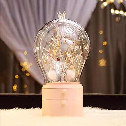 EnweKapu Caja Joyero Organizador, Girar Organizador de Joyas, LED Soporte Joyas con Luces Regulables, Transparente, Cajón Doble Grande, Ramas Redondas Creativas Colgador Collares,with Light