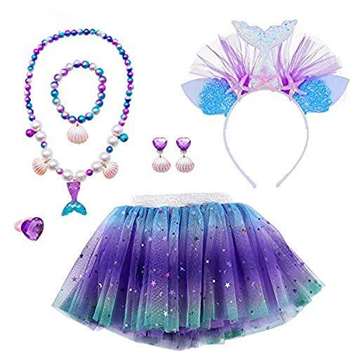 MMTX Faldas Tutu Tul Costume Regalo para Nias Disfraces Sirena Cosplay Fiesta Danza Faldas 6 Piezas Sirena Joyas Set Sirena Diadema Collar Pulsera Anillo Pendiente para 3-8 Aos Nias Cumpleao (M)