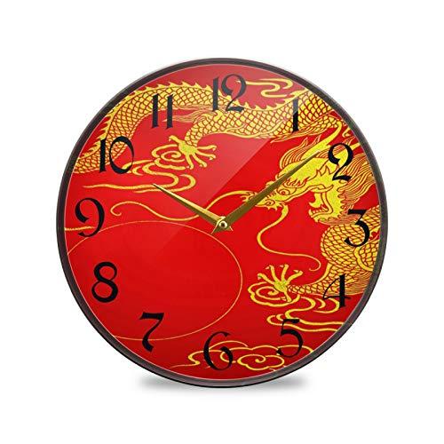 ART VVIES Reloj de Pared Redondo de 9,5 Pulgadas, sin tictac, silencioso, Funciona con Pilas, Oficina, Cocina, Dormitorio, decoración del hogar, Fondo Rojo Dorado de dragón