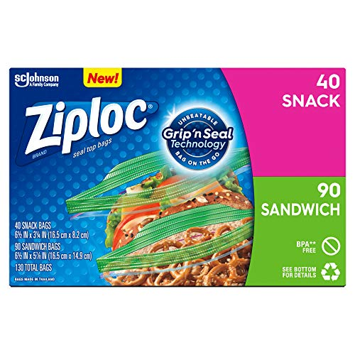 Ziploc Sandwich and Snack Lunch Bags with New Grip #039n Seal Technology 130 Count Pack of 9 1170 Total Bags