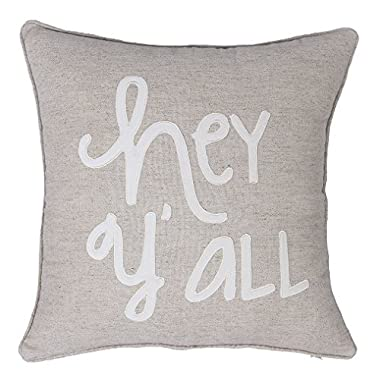 EURASIA DECOR DecorHouzz Pillowcase Farmhouse Embroidered Home Throw Pillow Cover Funny Quote Cushion cover Housewarming Guest Porch Wedding Anniversary Couple (18 X18 , Hey Yall(Linen))