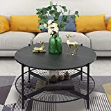 NSdirect Round Coffee Table,36 inches Rustic Wooden Tabletop and Reinforced Crossbar with Open Storage Shelf Vintage Circle Cocktail Table with Metal Legs for Living Room,Black