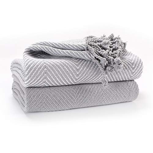 EHC Luxury Pack of 2 Chevron Cotton Single Sofa Throw Blanket, 125x 150cms - Grey