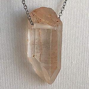 Tangerine Quartz Crystal Point Chain Pendant Necklace Unisex