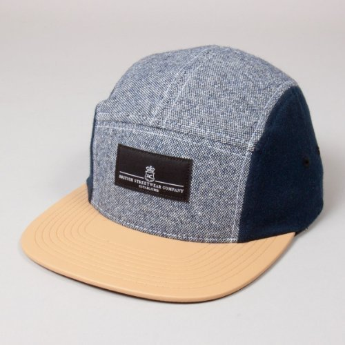 King Apparel Navy / Tan Krest Noir Label 5-Panel Cap Taille Reglable