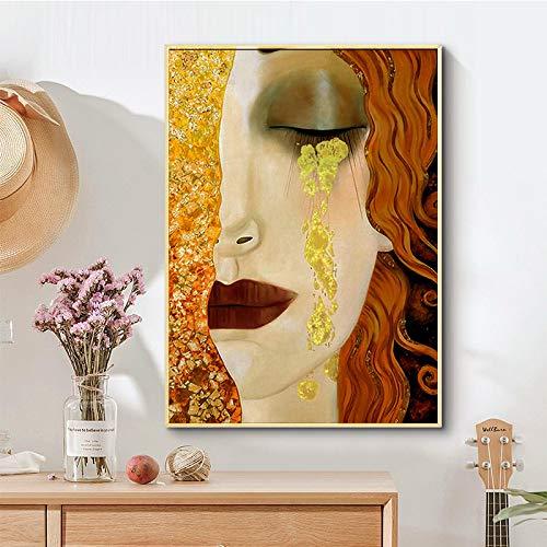 YCCYI Resumen Gustav Klimt Golden Tears and Kiss Famosas Pinturas en Lienzo Reproducciones Póster de Pared Imagen para decoración de Sala de Estar 40x50cm (16x20in) Marco Interior