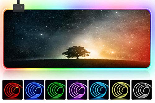 rgb mouspad Schöner Sternenhimmel Science-Fiction-Universum Weltraum Sternenlichtbaum kreativ Spiel Mauspad übergroße Verdickung kreative Mauspad Schreibtischunterlage