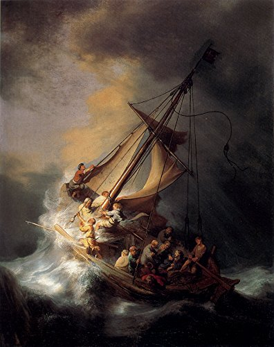 """Roya Art-The Storm on the Sea of Galilee by Rembrandt Hand Painted Famous Baroque Paintings Reproductions Oil Painting On Canvas Christian Painting For Wall Decoration, Size 24""""wide x 36""""high"""