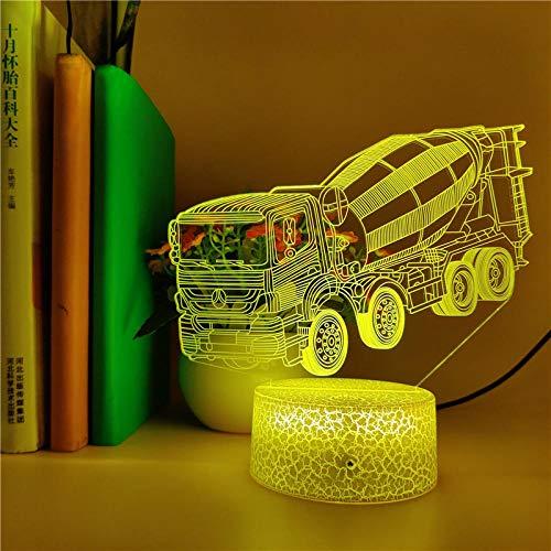 Linterna Mágica 3D, Luz De Noche Led, Camión Hormigonera, Decoración De La Habitación De Los Niños, Lámpara De Mesa De Acrílico, Iluminación De Cabecera, Regalo Para Niños De 7 Colores