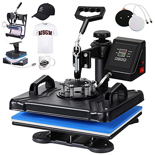 SURPCOS Heat Press Machine for T Shirts 5 in 1 Tshirt Printing Press Machine 12'x 15' Digital Tshirt Printer Sublimation Machine Swing-Away Printing...