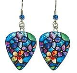 Royal Blue Stained Glass Flower Guitar Pick Dangle Earrings (GP004)