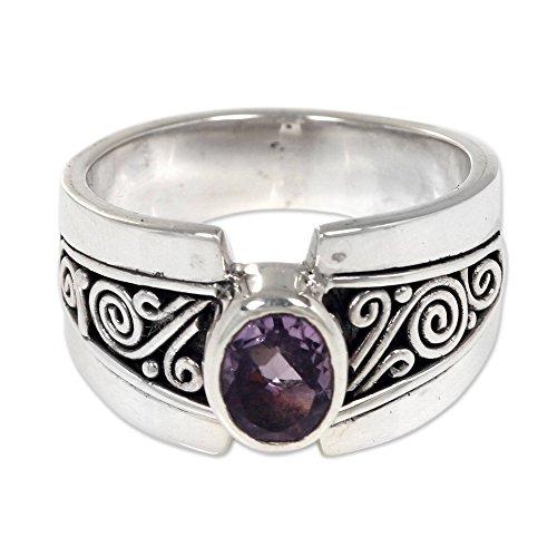 NOVICA Amethyst .925 Sterling Silver Cocktail Ring, Purple Karma'