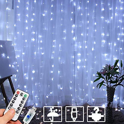 Kansas Cortina de luces LED, cadena de luces USB, mando a distancia, resistente al agua, para jardín, fiesta, Navidad, dormitorio (blanco, 3 x 3 m)