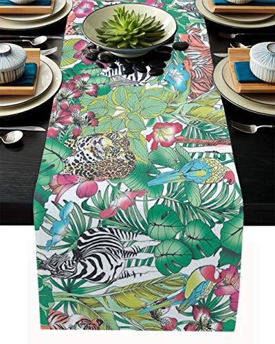 FAMILYDECOR Camino de mesa de arpillera de lino para mesas de comedor de 40,6 x 182,8 cm, caminos de mesa de bosque tropical y animales para fiestas de vacaciones, cocina, decoración de boda