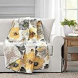 Lush Decor Leah Throw Blanket, 60' x 50', Yellow and Gray, Yellow & Gray