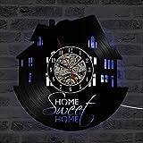 NIUYGB Reloj de Pared LED Reloj de Registro Reloj de Pared de Vinilo Dulce Creativo Retro Art Deco clásico Reloj de Pared Antiguo