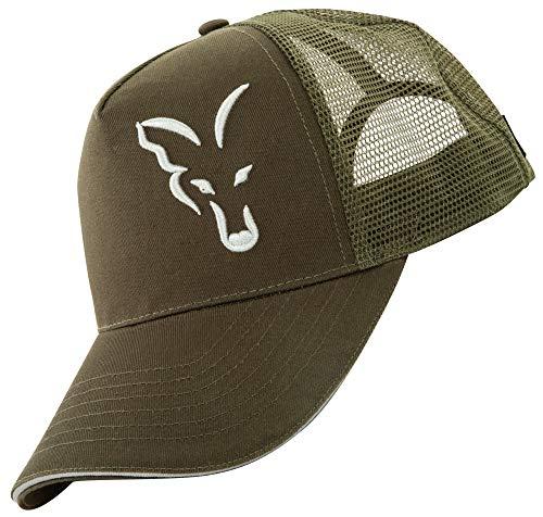 FOX Trucker Cap Green Silver - Angelcap für Karpfenangler, Cappy für Angler, Sonnenhut, Schirmmütze zum Angeln, Basecap