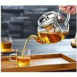 Tetera de cristal con infusor, tetera con colador para té suelto, tetera de té para estufa, tetera de 1000 ml se puede utilizar con calentador de tetera, filtro de acero inoxidable 304 (1000 ml)
