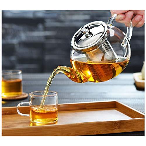 Tetera de cristal con infusor, tetera con colador para té suelto, tetera...