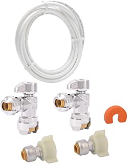 SharkBite 25087 Faucet Installation Kit, Angle Stop, Plumbing Fitting Quarter Turn, Water Valve Shut Off, Push-to-Connect, PEX, Copper, CPVC, PE-RT