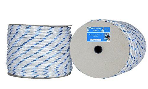 Corda Antica Corderia Marra - Treccia Nautica mm 12, 50 m, bianca con segnalino azzurro