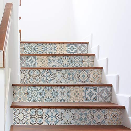 Selbstklebende Treppe Fliesen   Selbstklebender Aufkleber Zementfliesen   Sticker Gegenzeichen Fliesen   Treppe Zementfliesen selbstklebend – Azulejos – 15 x 105 cm – 6 Streifen