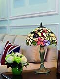 12 Zoll Vintage Pastoral Kolibri mit Blumen Glasmalerei Stil Tischlampe Schlafzimmer Lampe Nachttischlampe