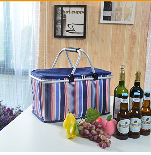 Cheapest Price! GGK Picnic Basket- Insulated Picnic Basket - BBQ Meat Drinks Cooler Bag - Waterproof...