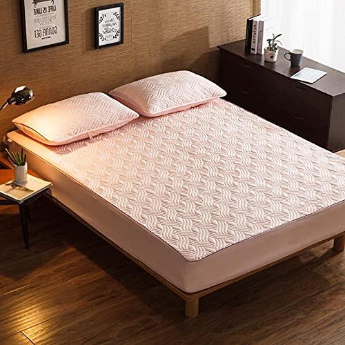 CYYyang Protector de colchón de bambú Funda de colchón y Ajustable Una Sola Pieza de sábana gruesa-21_90 * 190cm
