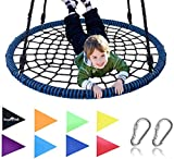 Giant 40 Inch Spider Web Tree Swing, 600 lb Weight Capacity, Durable Steel Frame, Waterproof, Adjustable Ropes, Flag Set and 2 Carabiners, Non-Stop Fun for Kids!