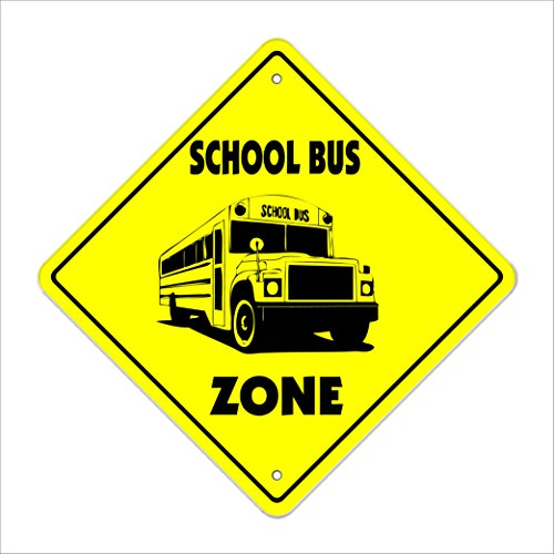 "School Bus Crossing Sign Zone Xing | Indoor/Outdoor | 12"" Tall Plastic Sign driver elementry schoolbus busses"