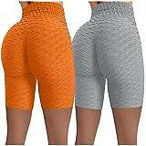 ayaso Legging de sport taille haute - Pantalon de yoga opaque court - Course - Fitness - Pantalon de jogging - Pour femme - Taille haute - Orange - L