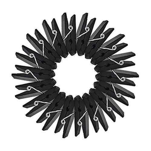 Kanggest 50Pcs Clips de Madera Coloridos 3.5CM Mini Pinzas de la Ropa para la Tarjeta de la Foto del Papel de Bricolaje Decoración (Negro)