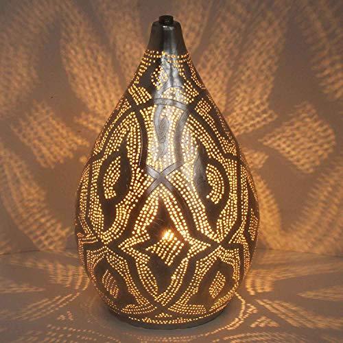 Casa Moro Orientalische Tischlampe marokkanische Bodenleuchte Alia-Zouak D20 Höhe 35cm Silber in Tropfenform | Echt versilberte Stehlampe aus Messing | Kunsthandwerk aus Marokko | ESL2210