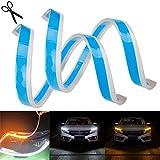 UNHO 2 x Bande Feux Diurne Flexible 12V, Feux Diurne LED Silicone 45CM Imperméable, Feux de Jour DRL Adhésive, Feux de Clignotant Pour Automobile - Blanc et Jaune