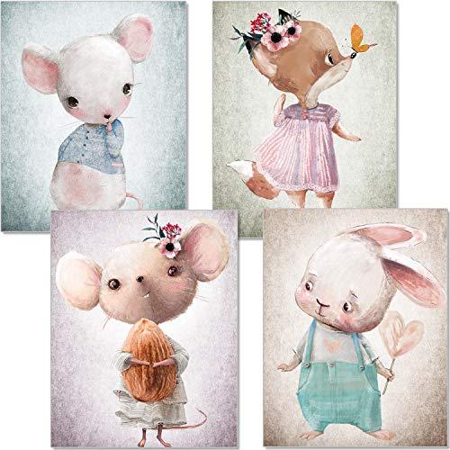 artpin® Juego de 4 imágenes para habitación infantil – Póster A4 para habitación de bebé – ratón zorro conejo colores pastel decoración niña niño P56