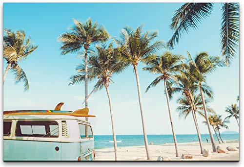 bestforhome 90x60cm Leinwandbild Van Bulli mit Surfbrett am Strand mit Palmen Leinwand auf Holzrahmen