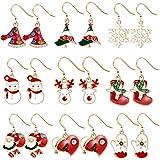 9 paia Orecchini di Natale, Natale Orecchini, Natalizie Creative Orecchini, Orecchini Creativi Decorazioni, decorazioni natalizie per donne, Orecchini Stile Natalizio, Orecchini Natalizi (A)