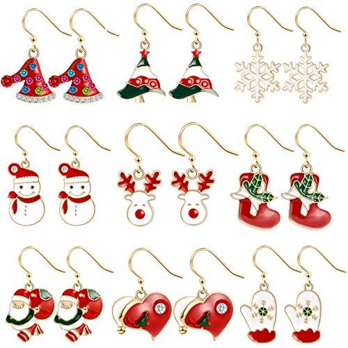 9 paia Orecchini di Natale , Natale Orecchini, Natalizie Creative Orecchini , Orecchini Creativi Decorazioni, decorazioni natalizie per donne, Orecchini Stile Natalizio , Orecchini Natalizi (A)