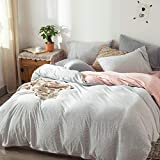 FOSSA Jersey Knit Cotton Duvet Cover Set King Grey/Pink Pinstripe T-Shirt Heathered Cotton Super Soft Comfortable, 1 Duvet Cover and 2 Pillowcases, Gray/Pink