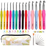 BCMRUN Crochet Hooks Set,14 PCS 2mm(B)-10mm(N) Ergonomic Soft Grip Handles Yarn Knitting N...