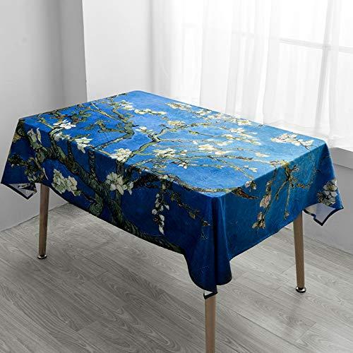 Creek Ywh Beibei Style Van Gogh tafelkleed van fluweel, rechthoekig, rond, TV-meubel, salontafel, fluweel, 3# abrikoos bloem, 140 x 100 cm